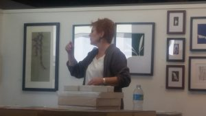 Artist Jill Sykes discussing her work at the Brewery Art Walk.