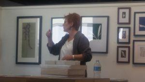 Artist Jill Sykes discussing her work at the Brewery Art Walk.